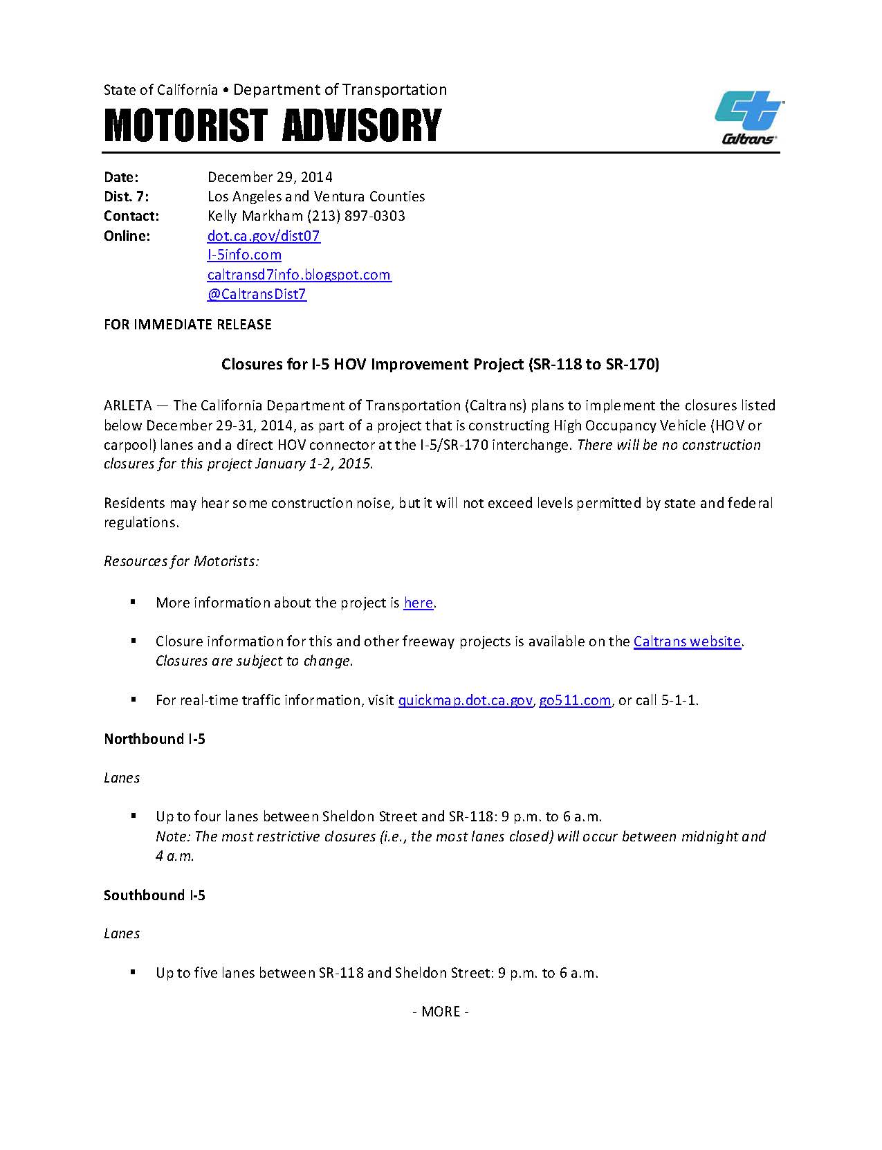 SR-118 to SR-170: Closures for Dec  29-31, 2014